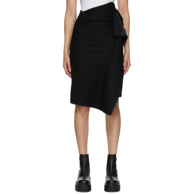 Sacai Black Wool Draped Skirt