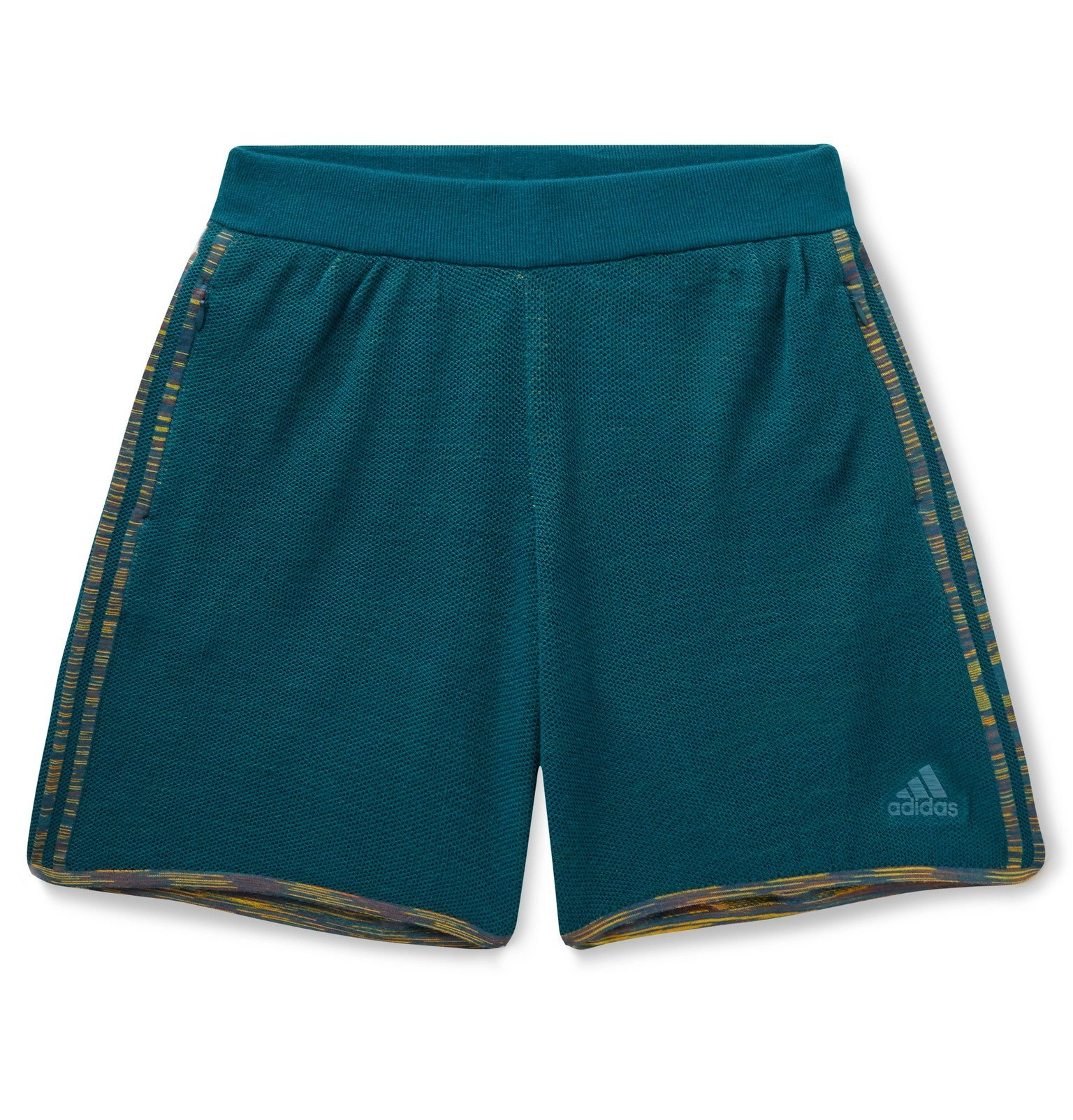 Photo: adidas Consortium - Missoni Saturday Perforated Stretch-Knit Shorts - Blue