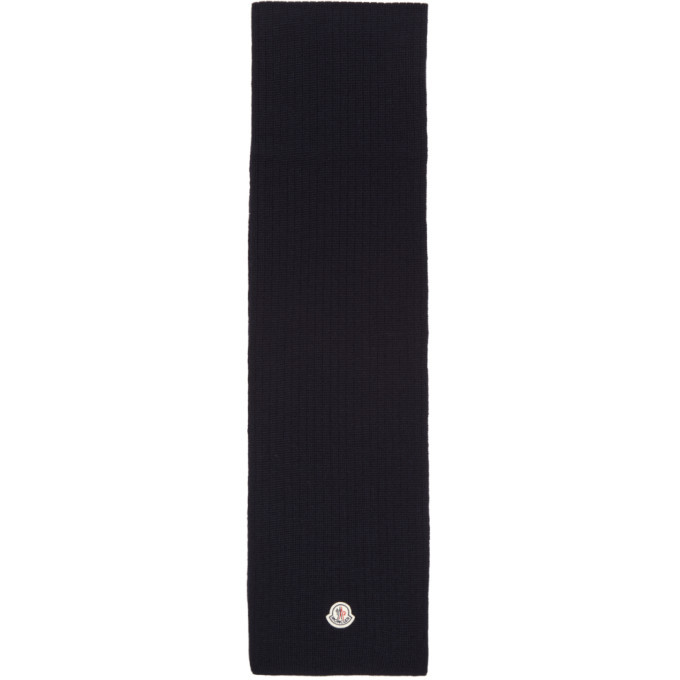 Photo: Moncler Navy Wool Ribbed Scarf