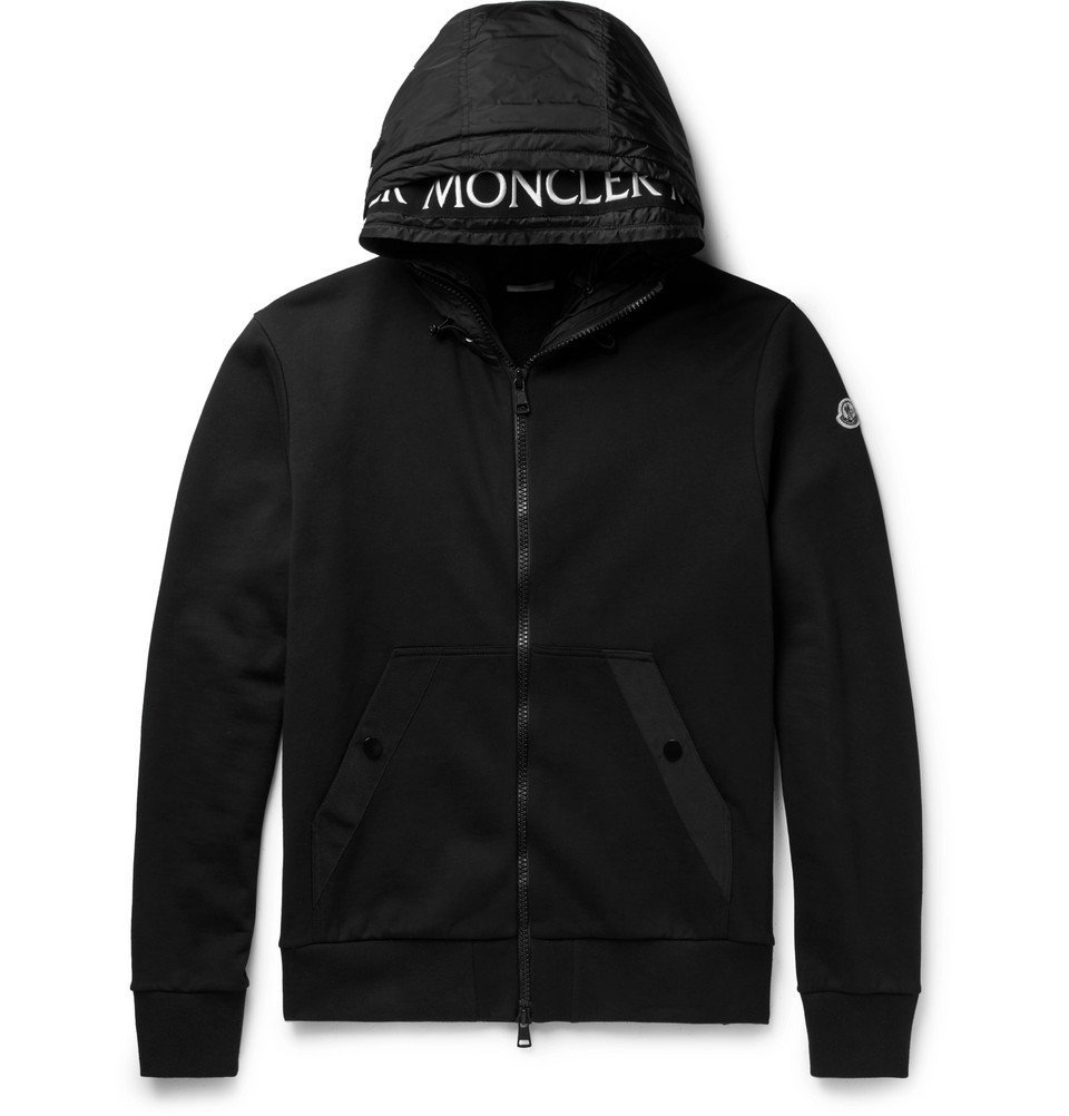 Photo: Moncler - Shell-Trimmed Fleece-Back Cotton-Jersey Hoodie - Men - Black