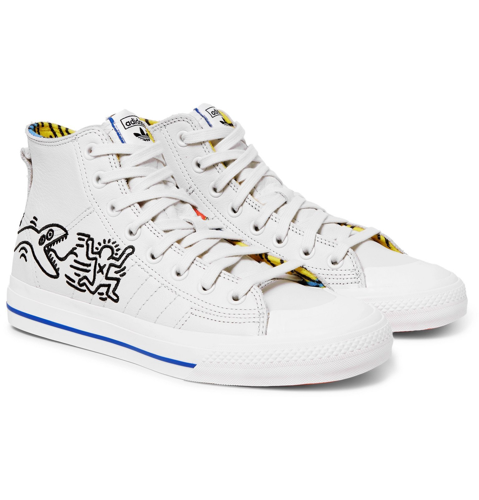 adidas Originals - Keith Haring Nizza Embroidered Leather High-Top Sneakers - Off-white