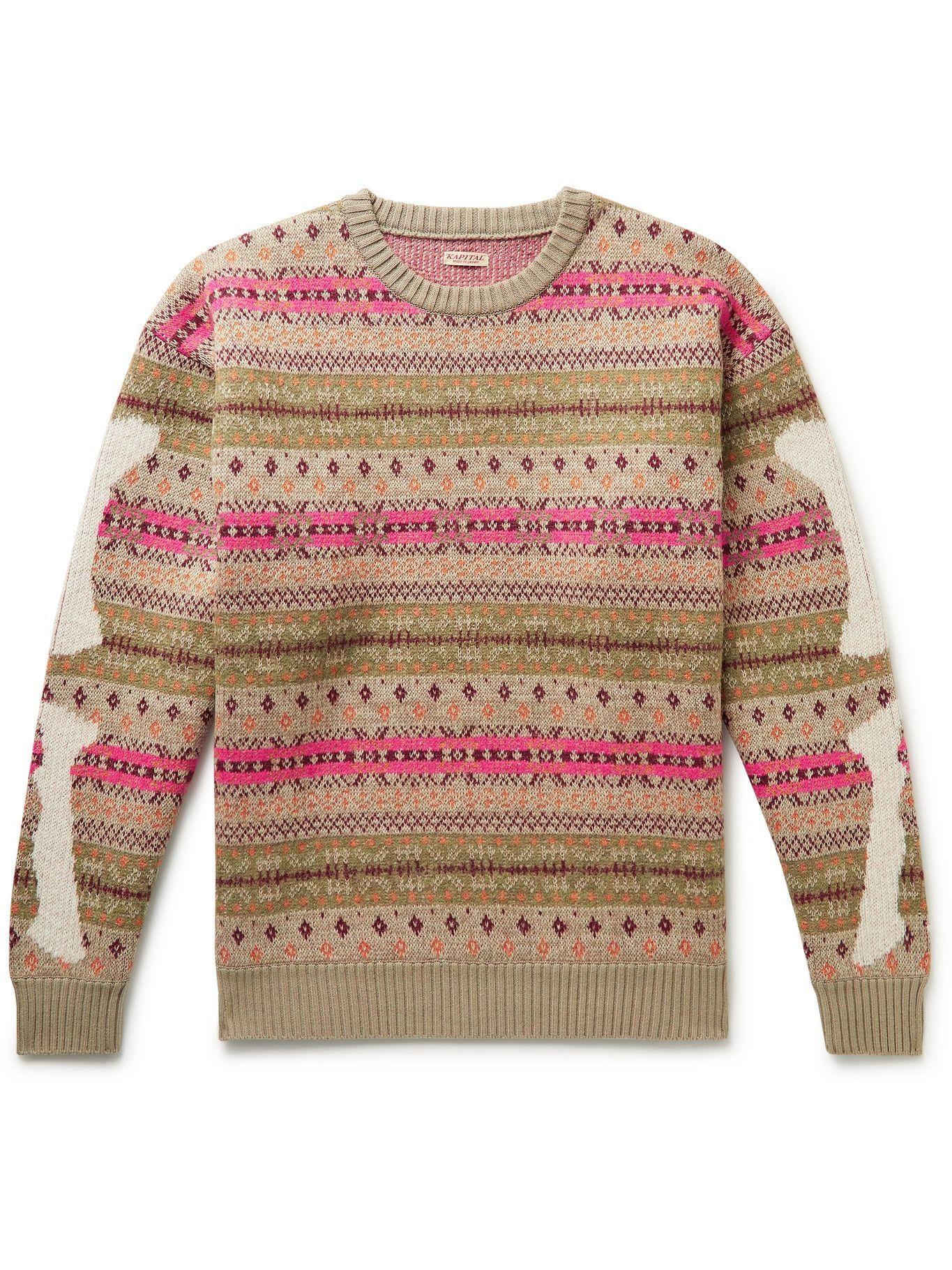 Photo: KAPITAL - Intarsia Fair Isle Wool-Blend Sweater - Neutrals