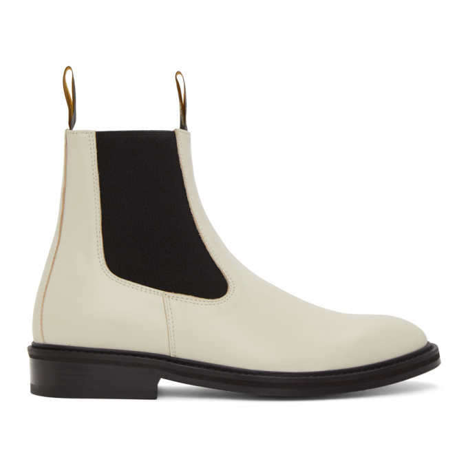 Photo: Lanvin White Plain Flat Chelsea Boots