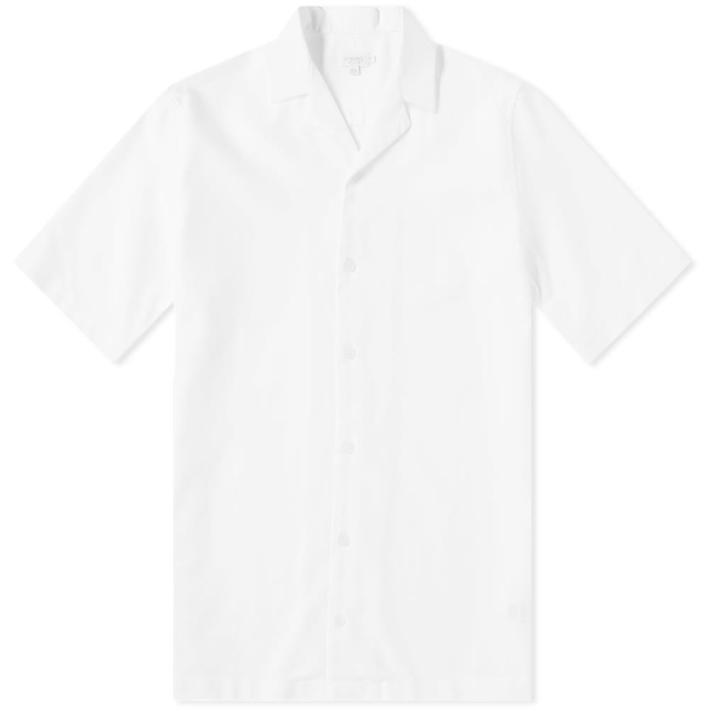 Sunspel Cotton Camp Collar Short Sleeve Shirt White