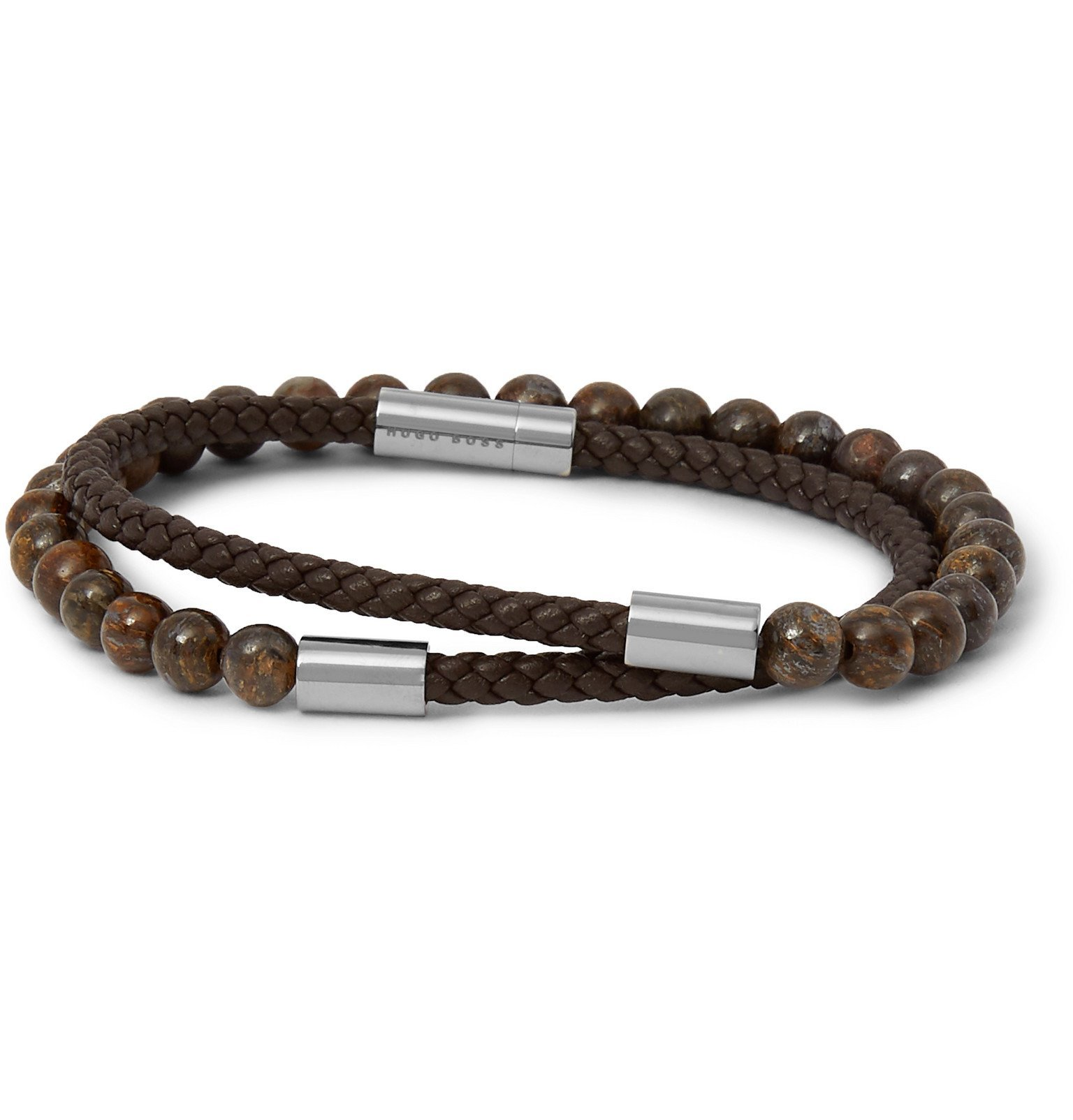 Photo: Hugo Boss - Braided Leather and Beaded Wrap Bracelet - Brown