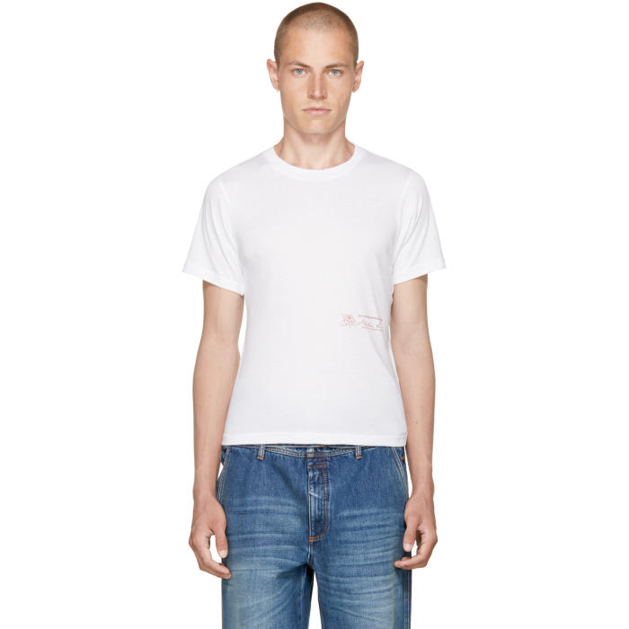 Martine Rose White Rose Logo Slim T-Shirt