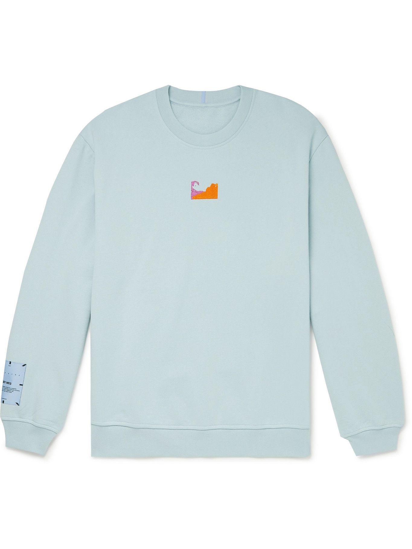 MCQ - Breathe Logo-Appliquéd Cotton-Jersey Sweatshirt - Blue