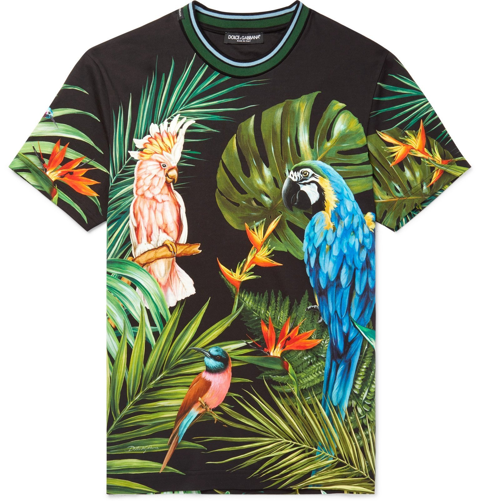 Photo: Dolce & Gabbana - Slim-Fit Contrast-Trimmed Printed Cotton-Jersey T-Shirt - Multi