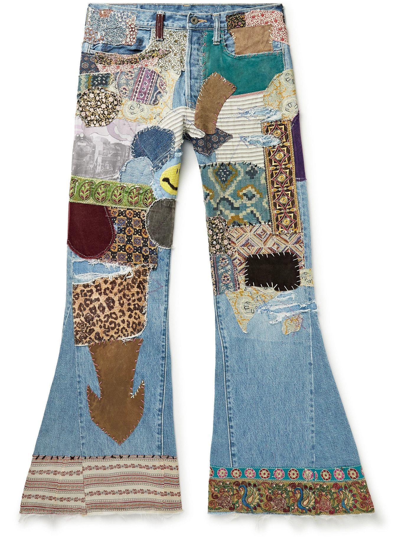 Photo: KAPITAL - Flared Distressed Embellished Jeans - Blue