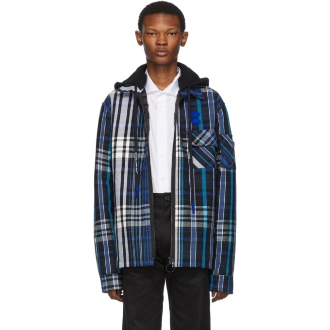 Photo: Off-White Blue and Black Padded Hoodie Shirt