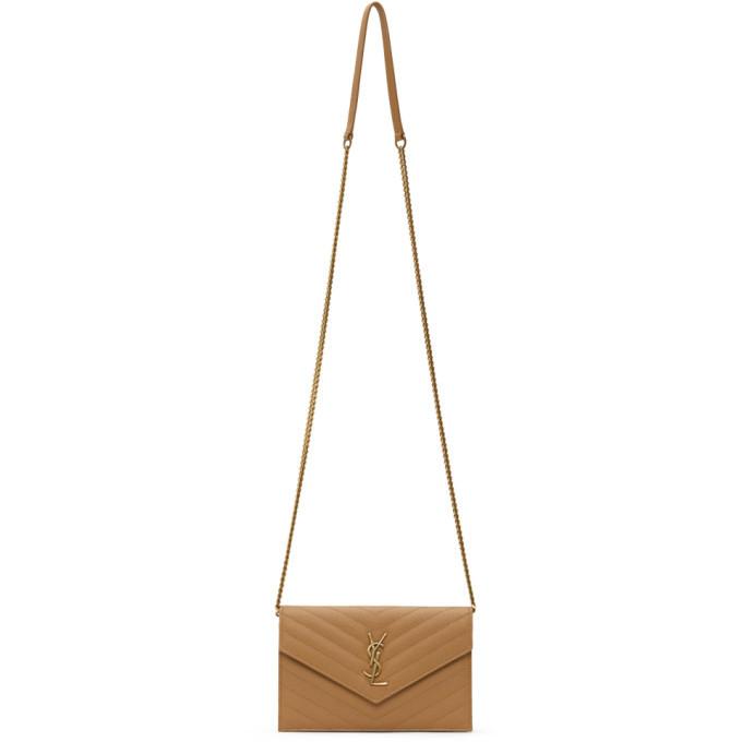 Photo: Saint Laurent Tan Monogramme Envelope Chain Wallet Bag