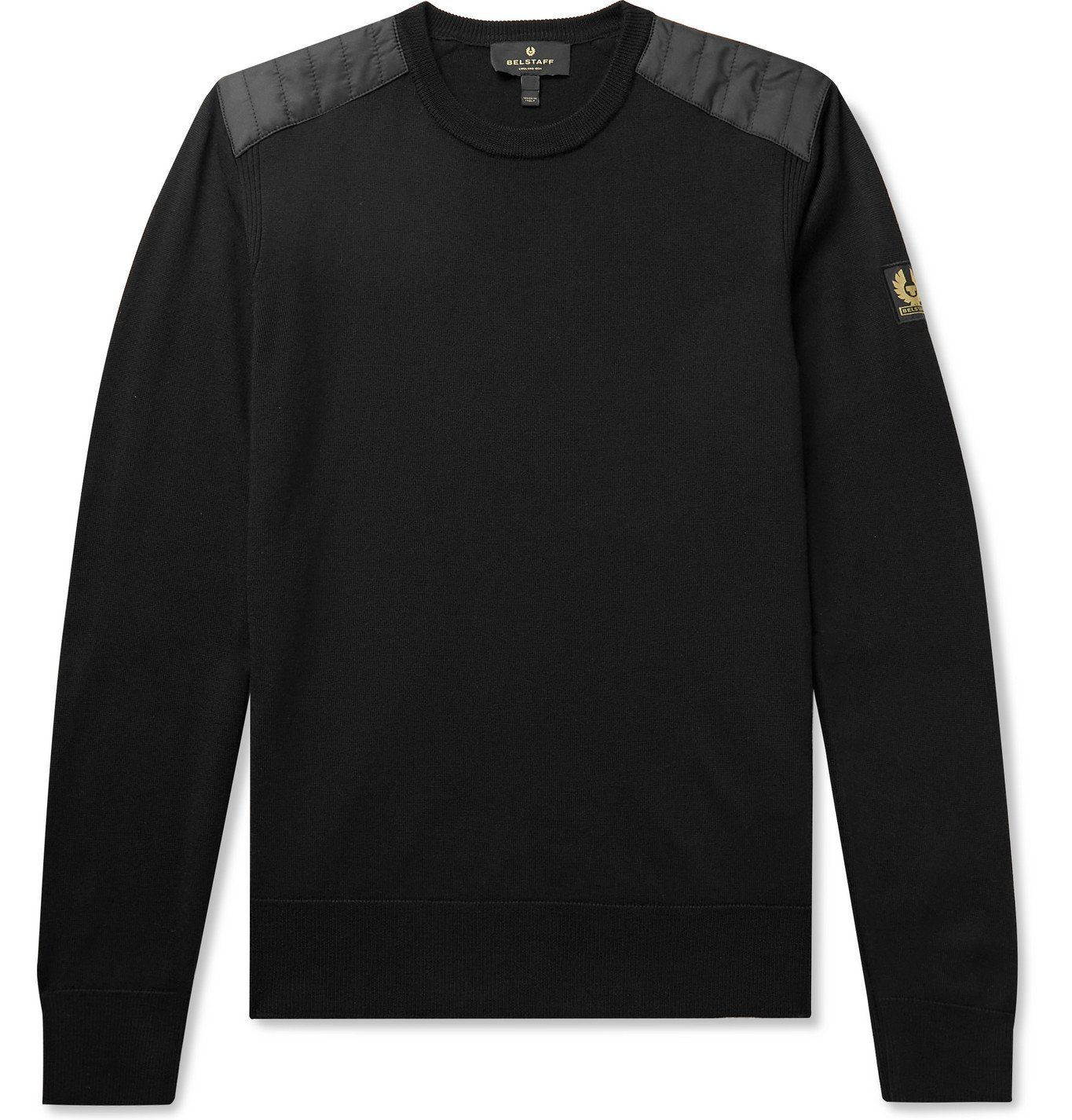 Photo: BELSTAFF - Kerrigan Slim-Fit Quilted Shell-Trimmed Merino Wool Sweater - Black