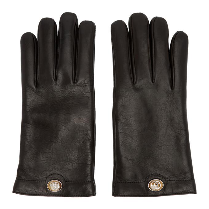 Photo: Gucci Black Leather Logo Gloves