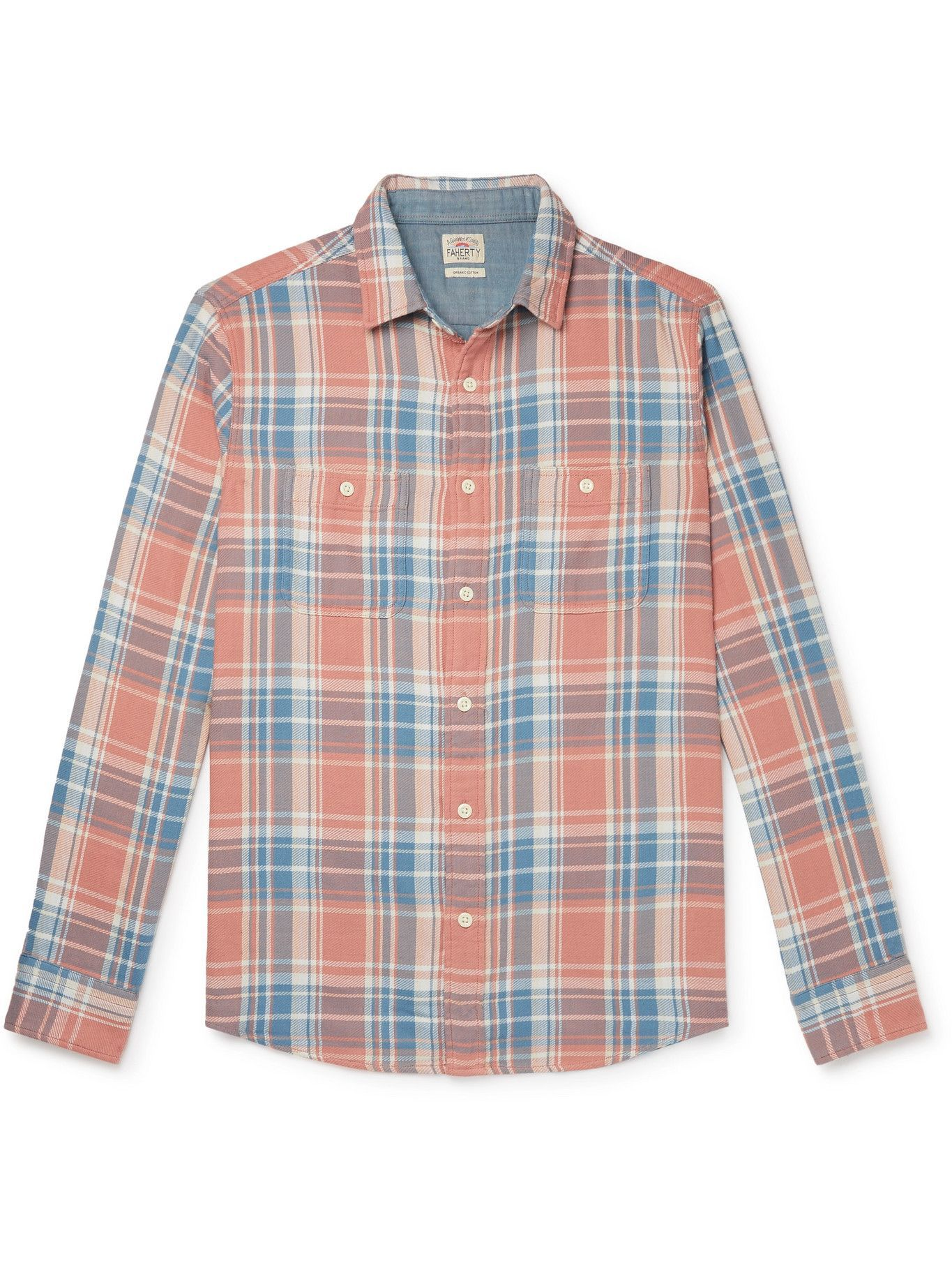 Photo: FAHERTY - Roadtrip Checked Organic Cotton Shirt - Pink