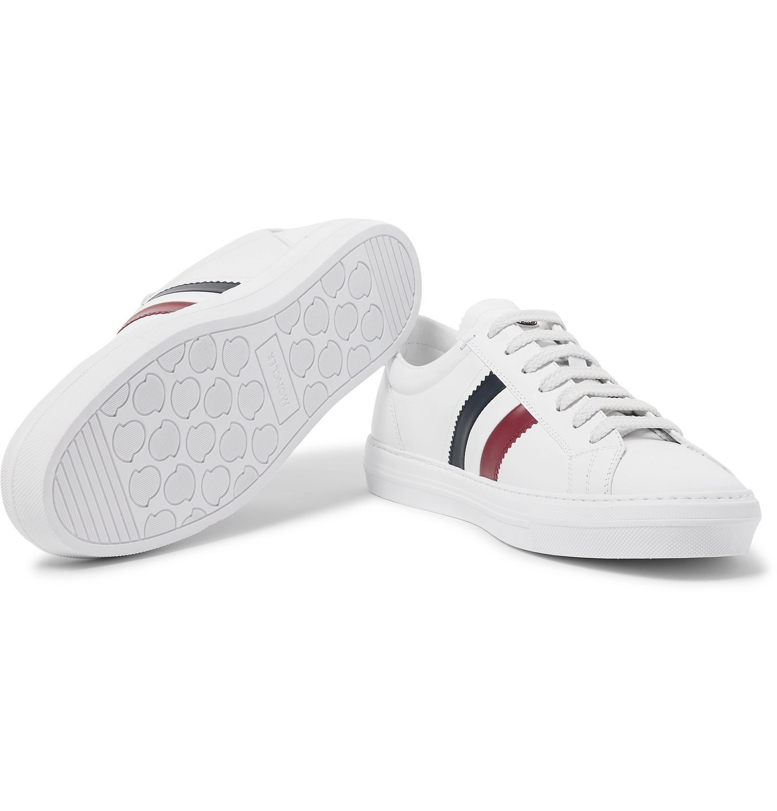 Moncler - New Monaco Striped Leather Sneakers - White