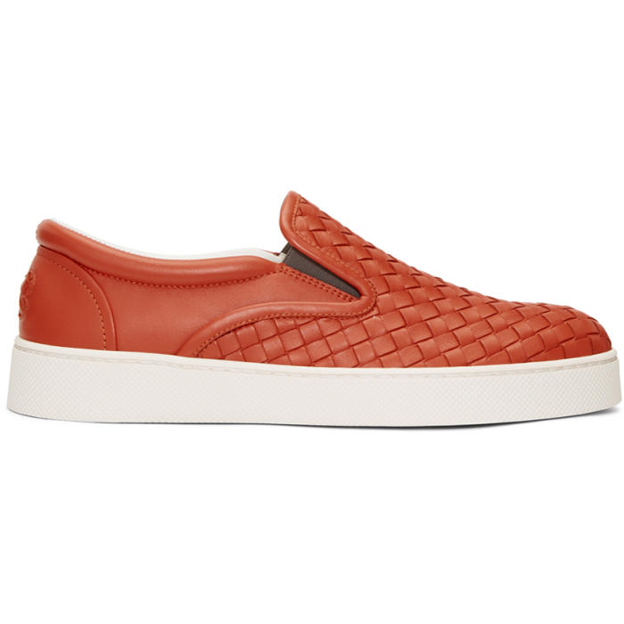 Bottega Veneta Red Intrecciato Dodger Slip-On Sneakers