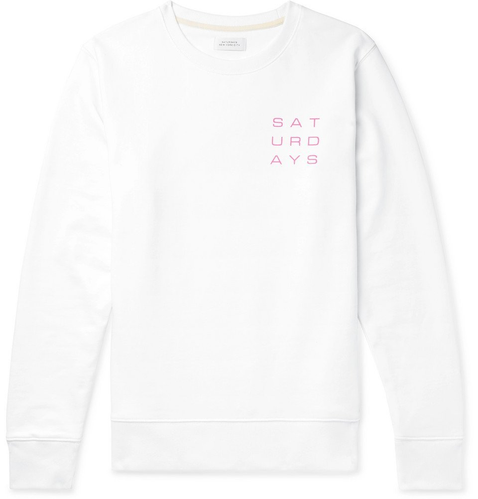 Photo: Saturdays NYC - Logo-Print Loopback Cotton-Jersey Sweatshirt - White