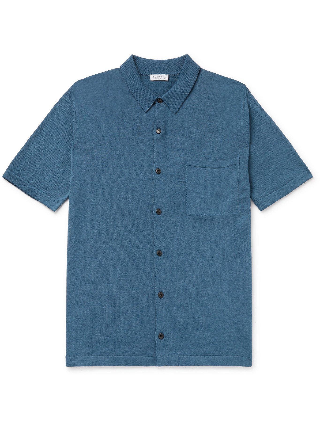 SUNSPEL - Slim-Fit Sea Island Cotton-Jersey Shirt - Blue - M