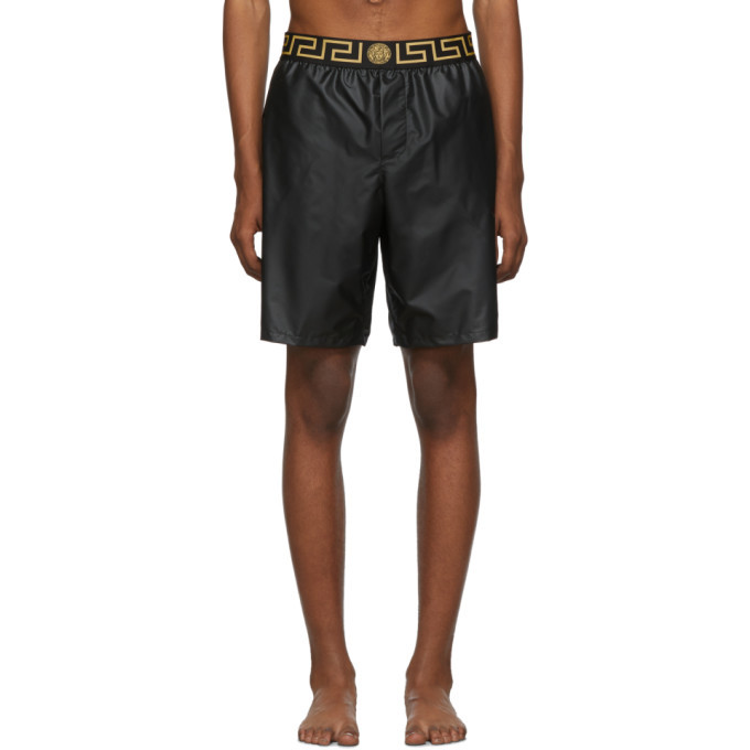 Photo: Versace Underwear Black Greek Key Swim Shorts