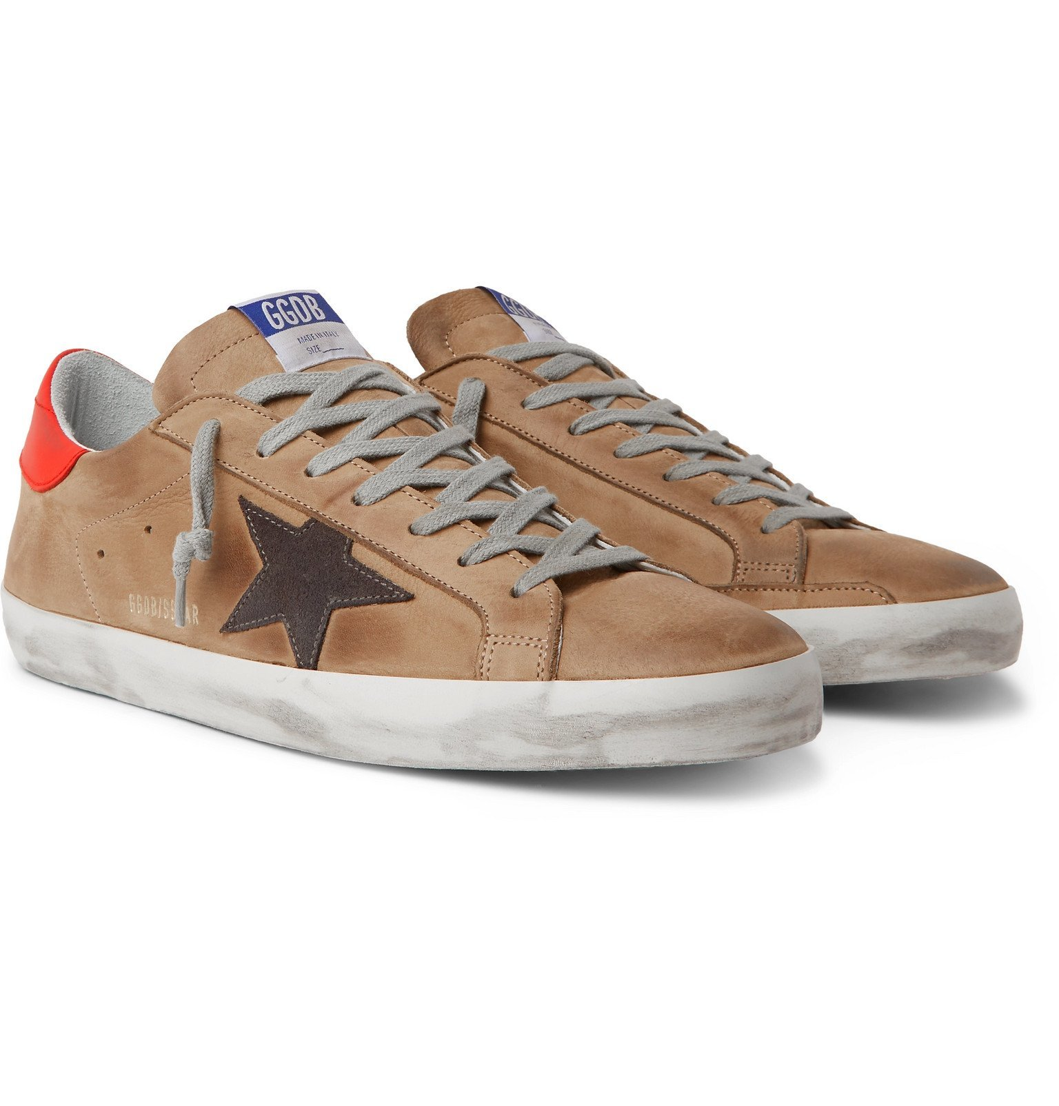 Photo: Golden Goose - Superstar Distressed Leather and Suede Sneakers - Brown