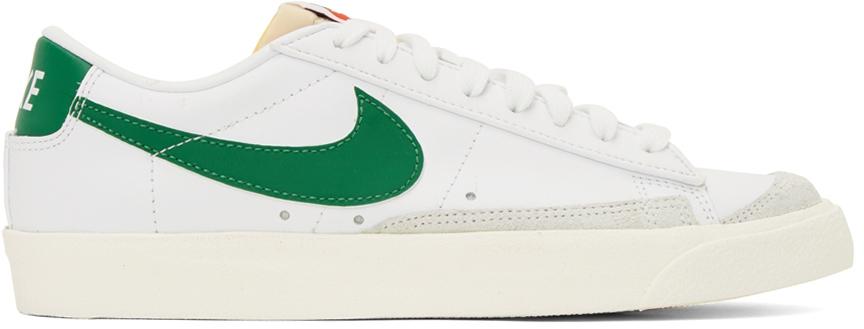 Photo: Nike White & Green Blazer Mid '77 Vintage Sneakers