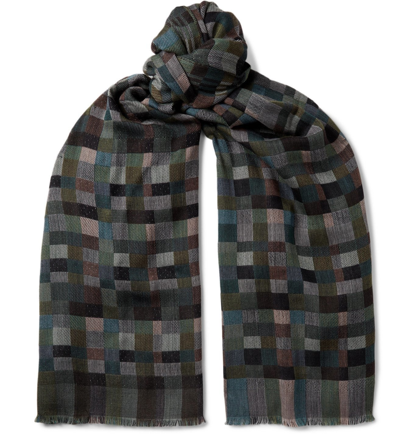 Photo: Missoni - Fringed Checked Virgin Wool Scarf - Gray
