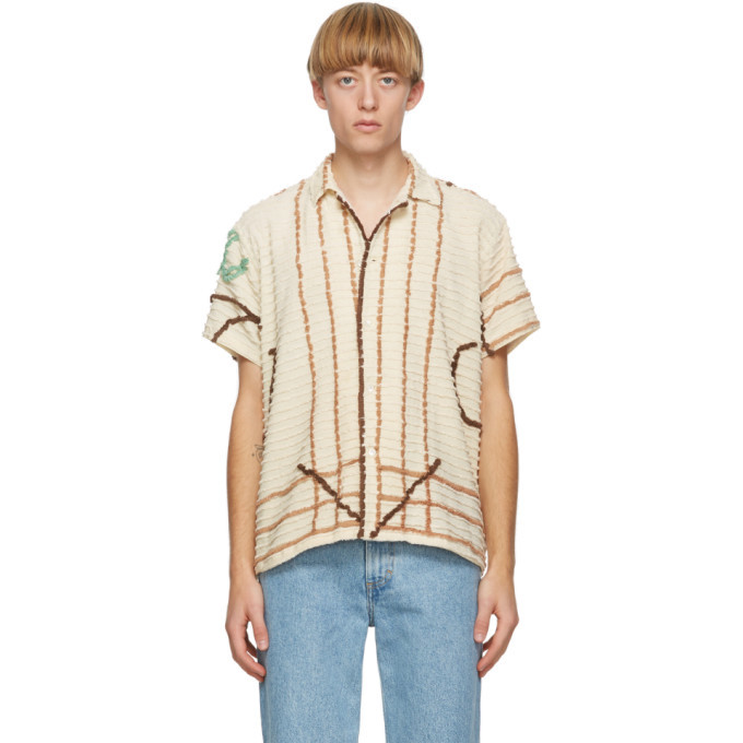 Photo: Bode Off-White Chenille One Of A Kind Short Sleeve Shirt