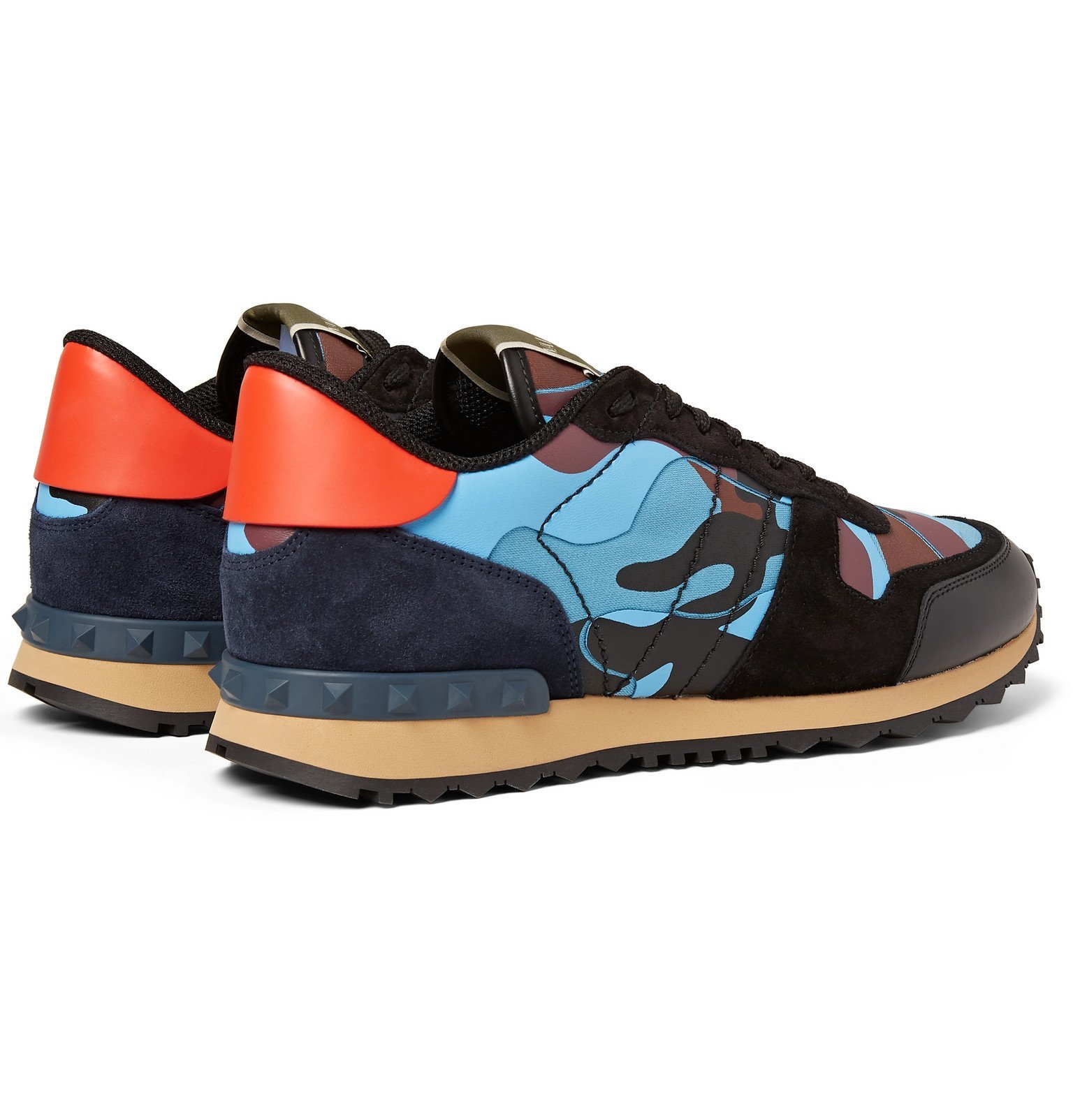 Valentino - Valentino Garavani Rockrunner Camouflage-Print Canvas, Leather and Suede Sneakers - Blue