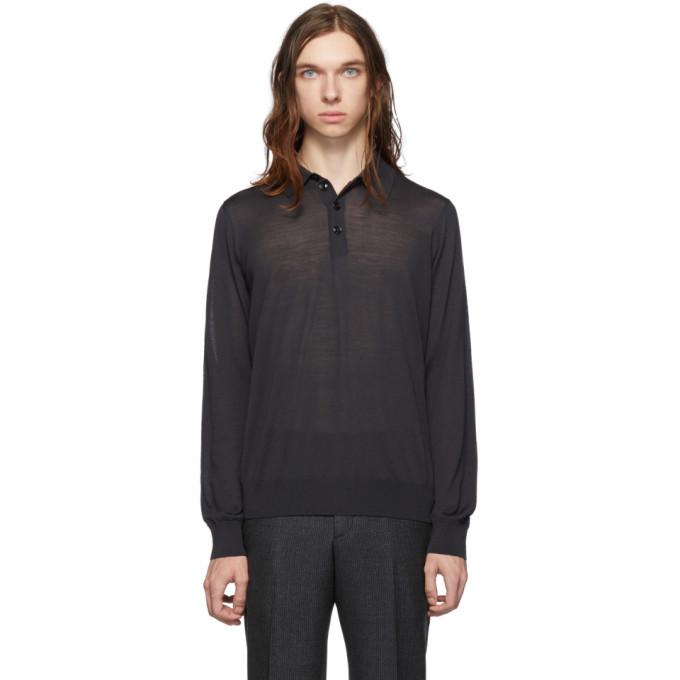 Photo: Giorgio Armani Grey Wool Long Sleeve Polo