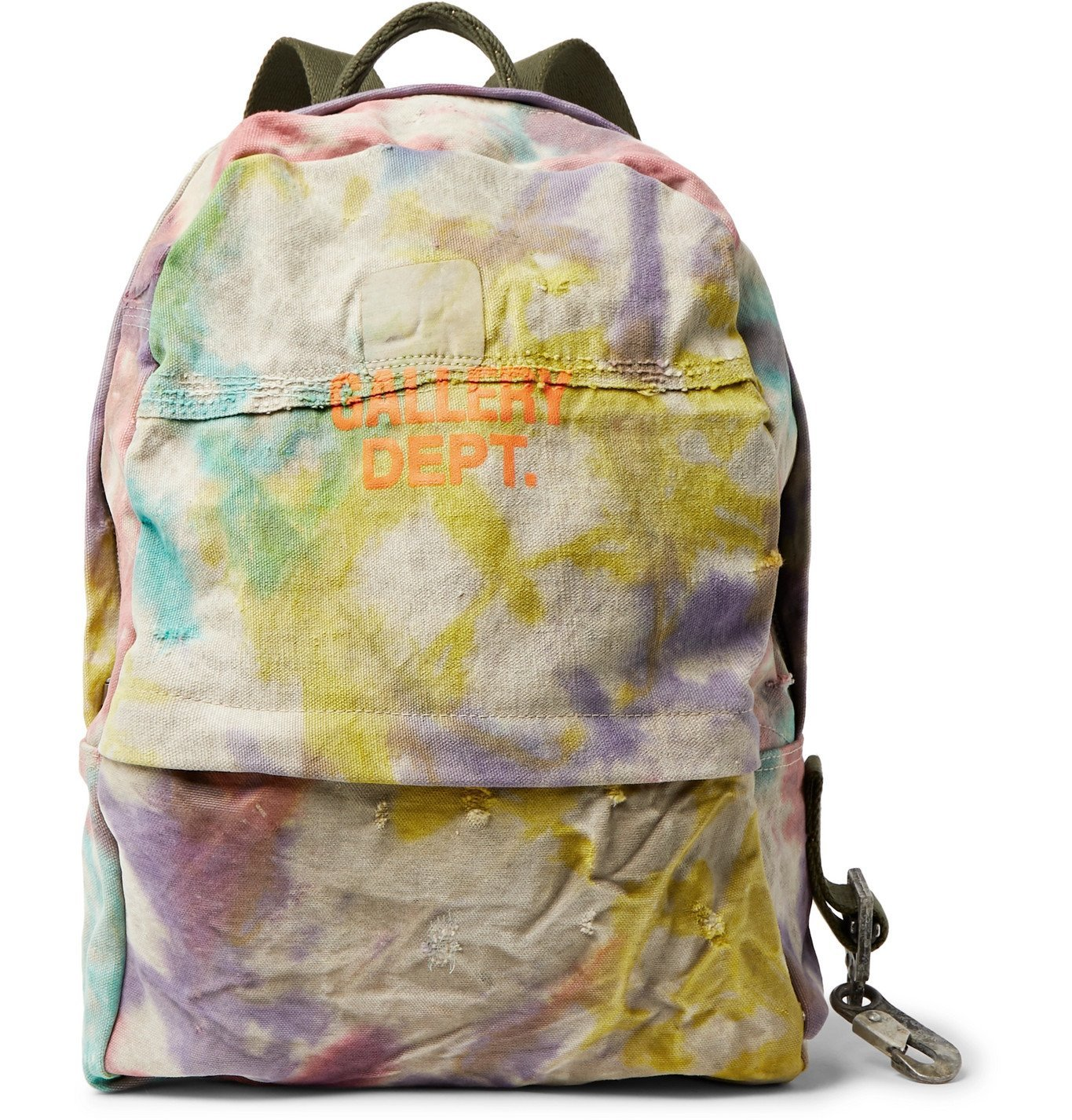 Photo: Gallery Dept. - Distressed Logo-Print Tie-Dyed Canvas Backpack - Multi