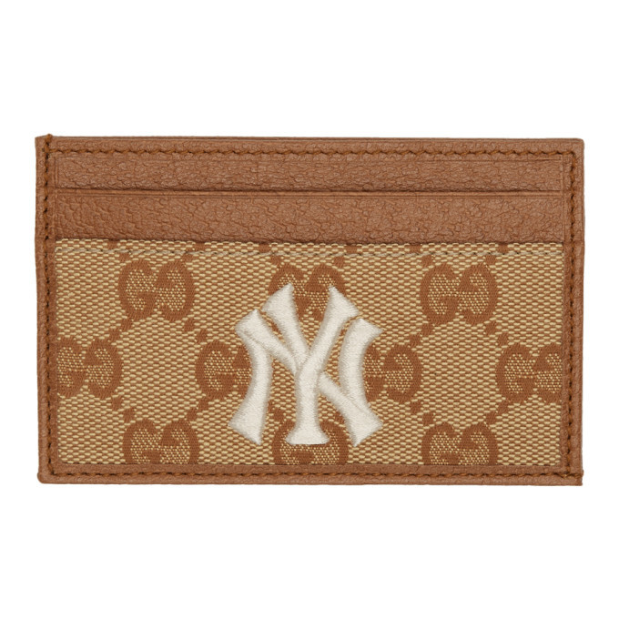 Photo: Gucci Beige and Brown NY Yankees Edition Small GG Patch Card Holder