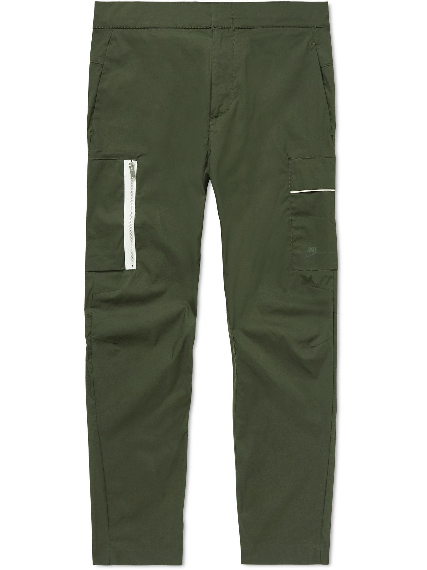 Photo: Nike - Sportwear Style Essentials Tapered Cropped Cotton-Blend Trousers - Green