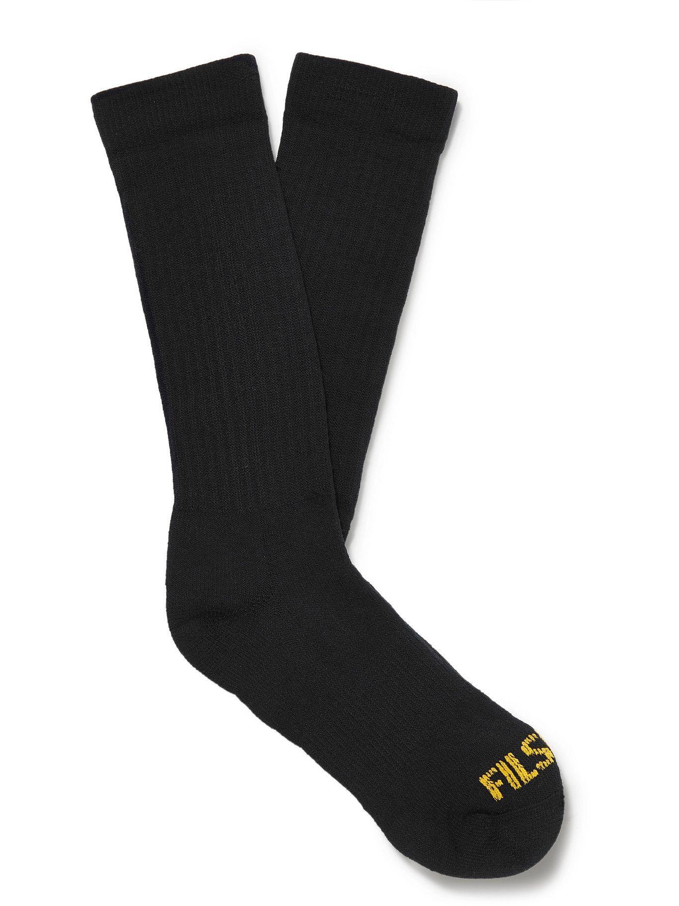 Photo: Filson - Logo-Intarsia Merino Wool-Blend Socks - Black