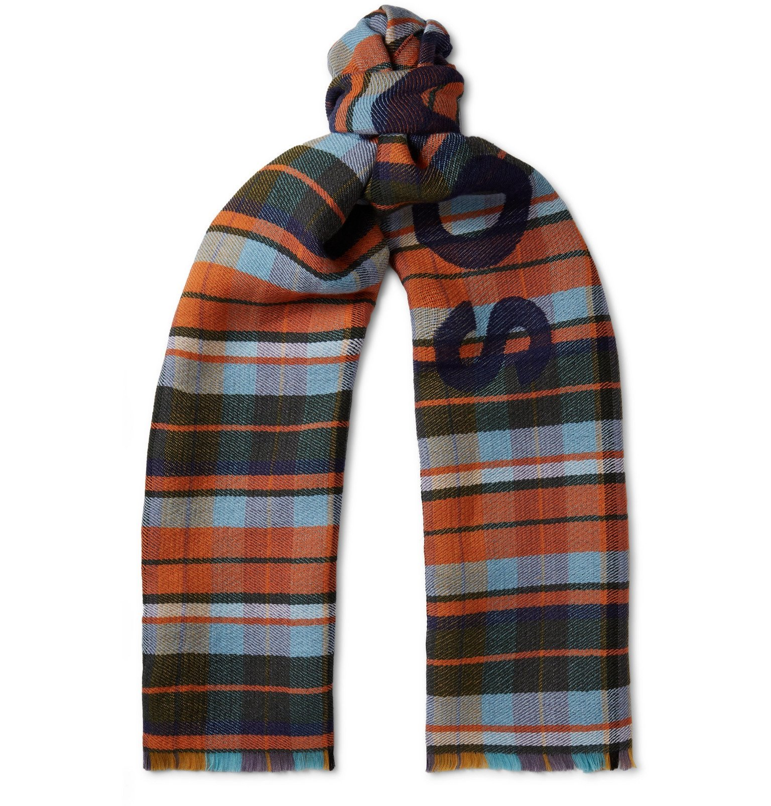 Acne Studios - Victoria Logo-Print Checked Wool Scarf - Blue