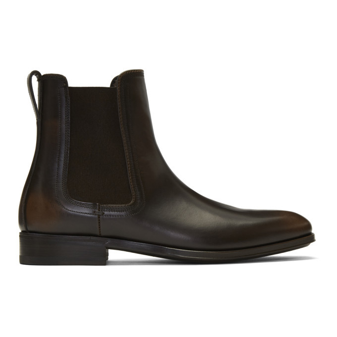 Photo: Salvatore Ferragamo Brown Darien Chelsea Boots