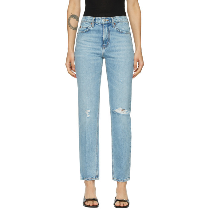 Photo: Re/Done Blue 70s Straight Rigid Jeans