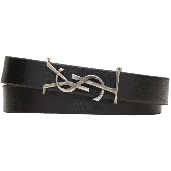 Photo: Saint Laurent Black Leather Logo Wrap Bracelet