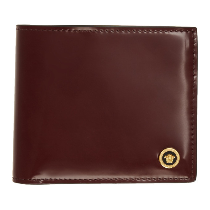 Photo: Versace Burgundy Patent Medusa Bifold Wallet