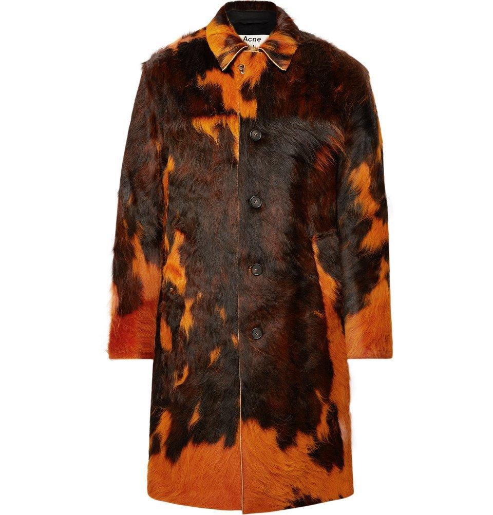 Photo: Acne Studios - Laius Overdyed Calf Hair Coat - Orange