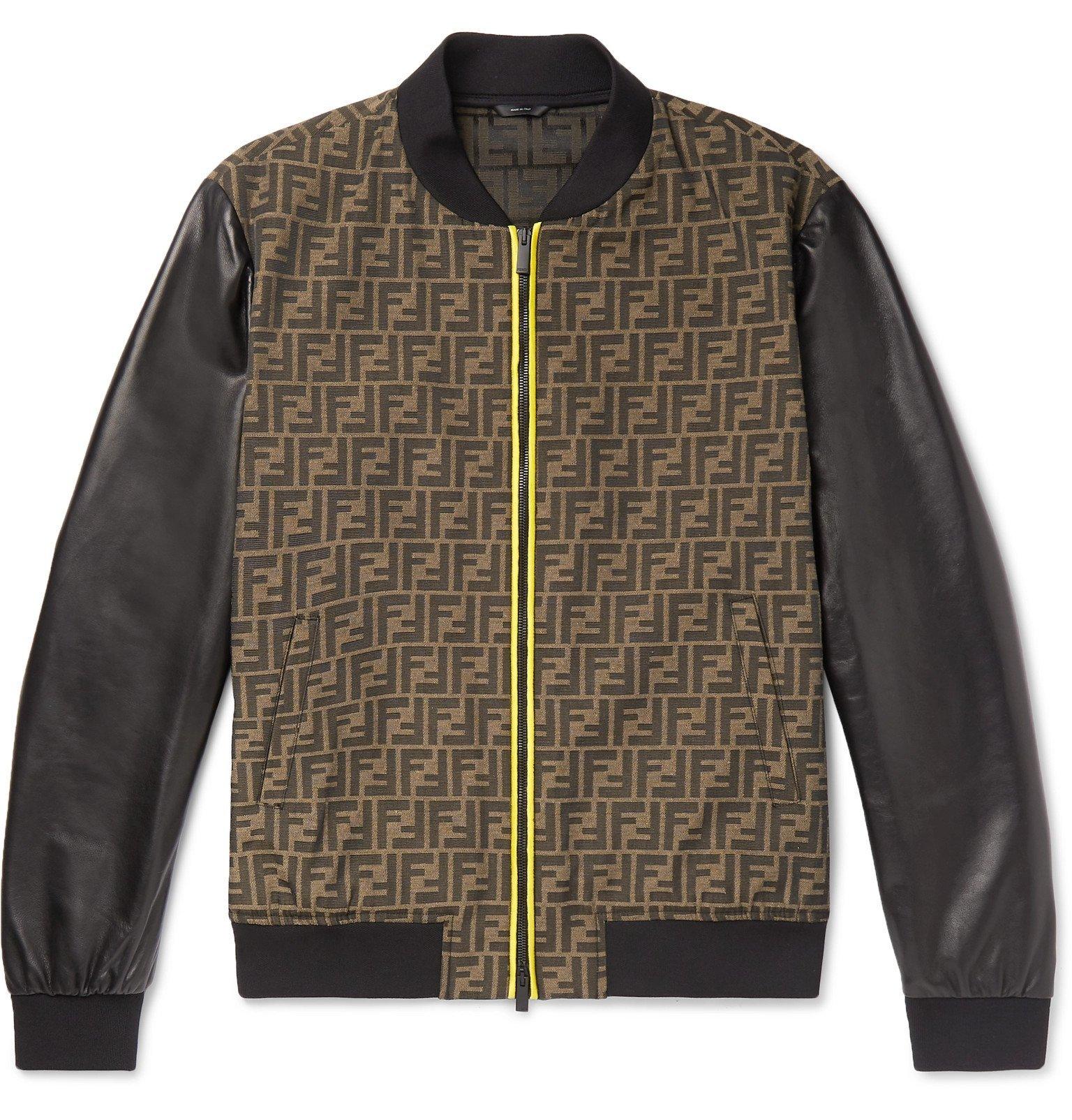 Photo: Fendi - Slim-Fit Paneled Logo-Jacquard and Leather Bomber Jacket - Brown