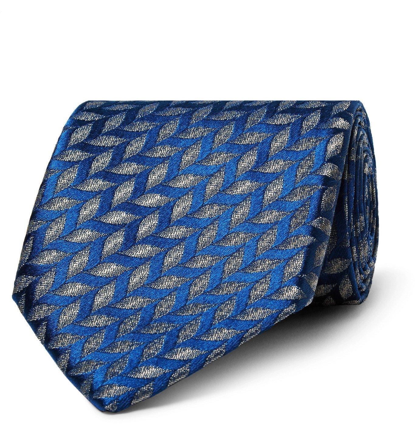 Photo: Charvet - 7.5cm Silk-Jacquard Tie - Blue