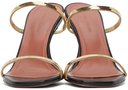 Amina Muaddi Black & Gold Henson Heeled Sandals
