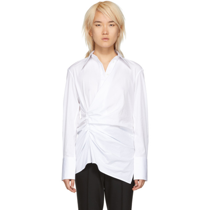 Photo: Helmut Lang White Draped Poplin Shirt