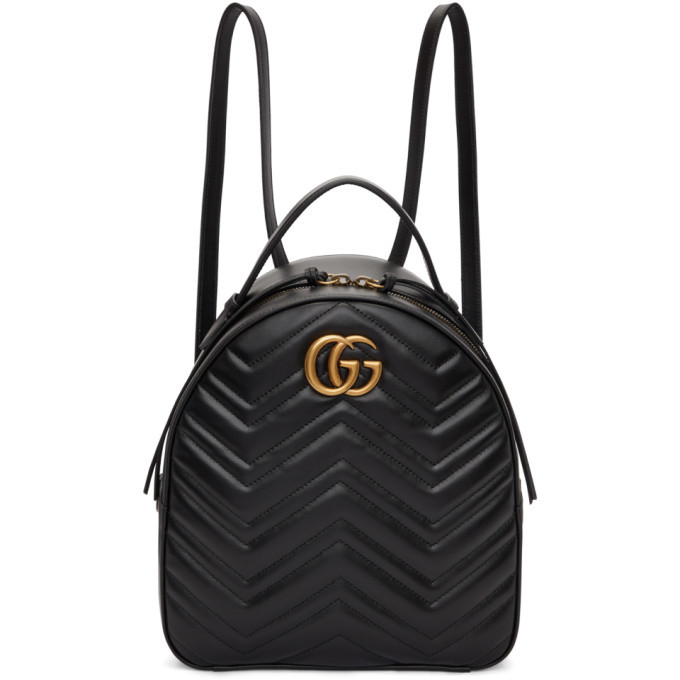 fb7a471332e Gucci Black GG Marmont Quilted Chevron Backpack Gucci