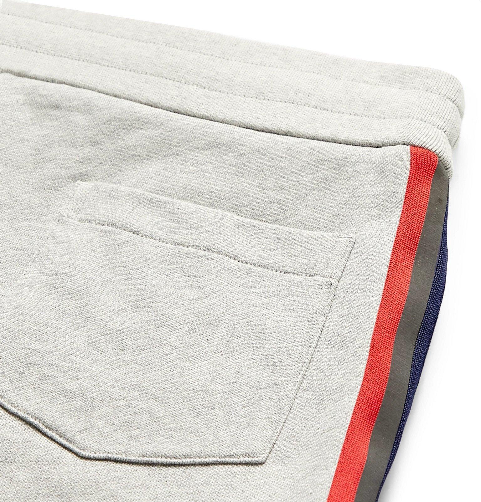 Moncler - Logo-Appliquéd Webbing-Trimmed Loopback Cotton-Jersey Shorts - Gray