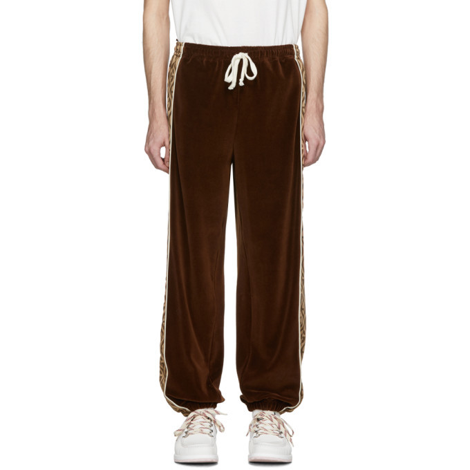 Photo: Gucci Brown and Beige G Rhombus Velvet Track Pants