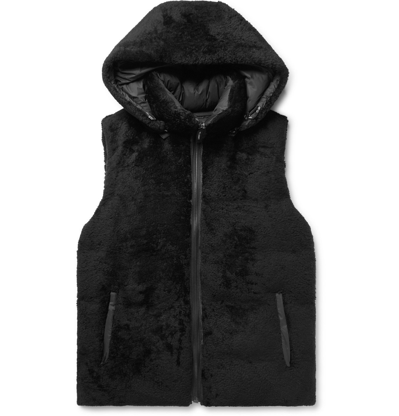 Photo: Yves Salomon - Reversible Shearling and Quilted Shell Hooded Down Gilet - Black