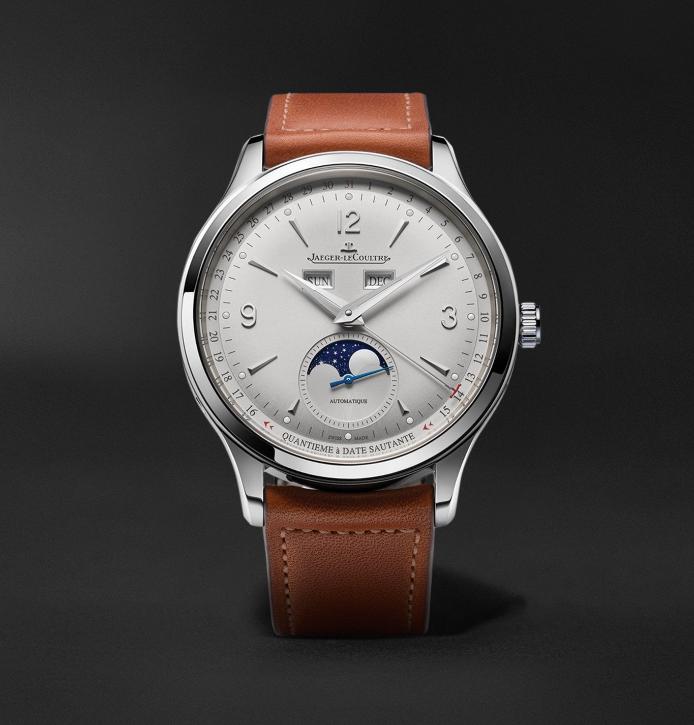 Photo: Jaeger-LeCoultre - Master Control Calendar Automatic 40mm Stainless Steel and Leather Watch, Ref No. 4148420 - Silver