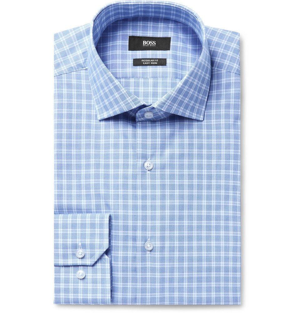 Photo: Hugo Boss - Blue Gordon Checked Cotton-Poplin Shirt - Blue