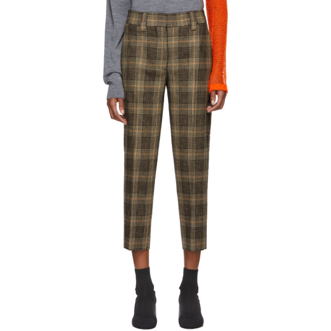 Photo: Acne Studios Brown and Beige Plaid Trousers